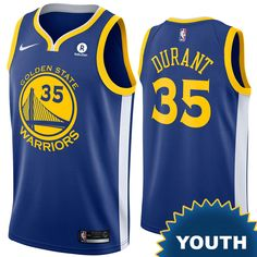 16f21178d51 Golden State Warriors Nike Dri-FIT Youth Kevin Durant  35 Swingman Icon  Jersey -