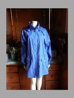 Vintage 80s, 90s, LONDON FOG, Cobalt Blue, Slouchy, Hooded, Waterproof Raincoat by HeelsOnaShoestring