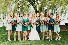 NJ Wedding on a Budget: The Mismatched Bridesmaid Dresses Trend