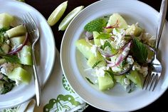 Melon with Lime, Feta and Mint by thebojongourmet #Salad #Meon #Feta