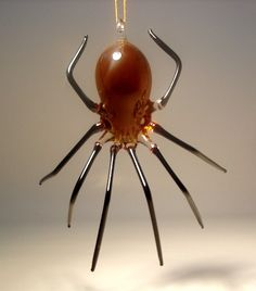 Hanging Amber Glass Spider Ornament