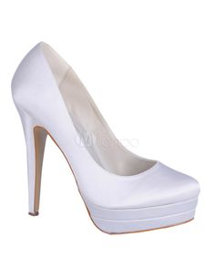 Concise White Satin Bridal Pumps - Milanoo.com $50.39 Heel Height:  5.1""