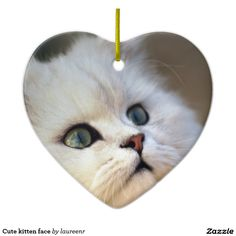 Cute kitten face Double-Sided heart ceramic christmas ornament