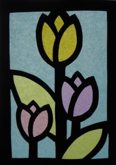 tulipani_VETRATE_LIM Crafts For Kids, Arts And Crafts, Paper Crafts, Stained Glass Projects, Spring Crafts, Graphic Art, Castle, Flowers, Blog