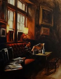 Jonelle Summerfield Oil Paintings: Reading at the Pub