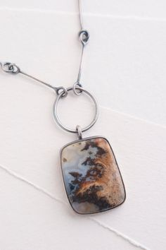 Plume Agate, Sterling Silver, Hand Fabricated Sterling Silver Chain, OOAK