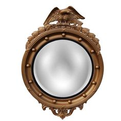 Hickory Manor House Regency Eagle Convex Mirror in Antique Gold