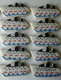 Cruise Ship Cookies :-D Cupcake Cookies, Sugar Cookies, Cruise Ship Party, Nautical Cupcake, Boat Fashion, Cruise Destinations, Love Boat, Cookie Ideas, Big Project