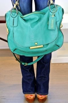 I Love aqua/ turquoise bags with gold accents