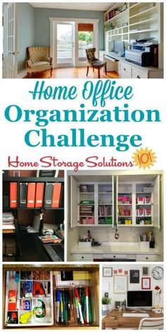 Step by step instructions for home office organization, including organizing home office supplies, desk area, cords, equipment and more {a 52 Week Organized Home Challenge on Home Storage Solutions 101}