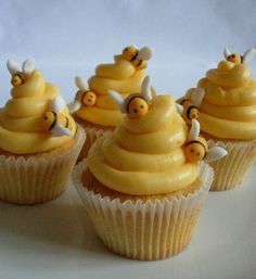 Completely unoriginal design, but my kids loved them. Vanilla cupcakes with fondant bees. in Children's Birthday Cakes by Beehive Cupcakes Beehive Cupcakes, Bee Cupcakes, Fondant Cupcakes, Yummy Cupcakes, Cupcake Cookies, Honey Cupcakes, Vanilla Cupcakes, Spice Cupcakes, Cupcake Mix