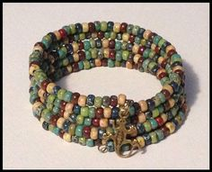 Picasso Seed Bead Memory Wire Bracelet with by LoveOfBeadsJewelry, $20.00