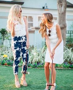 @roressclothes clothing ideas #women fashion white dress, blue floral pants