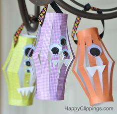 Halloween Monster Paper Lanterns (Kids Craft) | HappyClippings.com