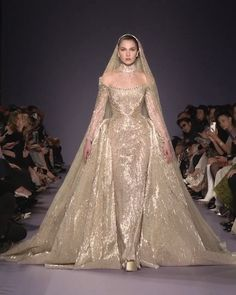 Georges Hobeika Look Spring Summer 2020 Haute Couture Collection. - Gorgeous Embellished Champagne Sheath Wedding Dress / Wedding Gown with High Neckline, Long Sleeves - Dream Wedding Dresses, Bridal Dresses, Couture Wedding Dresses, Gold Wedding Gowns, Wedding Dressses, Pakistani Wedding Outfits, Luxury Wedding Dress, Elegant Dresses, Pretty Dresses