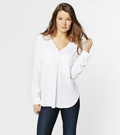 #DYNHOLIDAY Soft and sexy! This button down blouse is perfect for dressing up or down. Pair it with jeans for a casual yet polished look, or pair it with dress pants for the office.