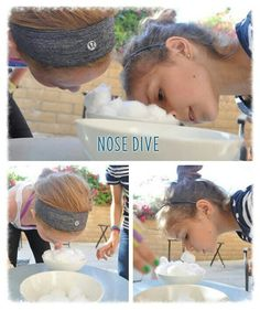 Nose Dive. Players transfer cotton balls on their nose with petroleum jelly. Can be used in a relay race, or as part of a timed-challenge. Im using it as one of our minute-to-win it games.