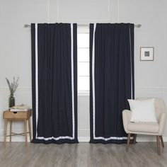Alcott Hill Kylen Ribbon Bordered Cotton Blackout Thermal Rod Pocket Curtains Curtain Colour: Navy/White