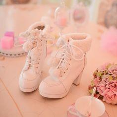 Womens Sweet Lolita Pom Pom Lace Up Fur Trim Block High Heels Winter Ankle Boots High Heel Boots, Heeled Boots, High Heels, Shoes Heels, Ankle Boots, Ankle Heels, Mode Kawaii, Kawaii Shoes, Lolita Shoes