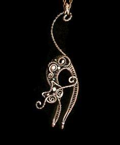 Copper pendant Cat by Liza Kusilova