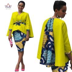 Africa Style Women African Clothing Two Piece Set Dress Suit for Women Tops Jacket and Print Skirt Bazin Riche Clothing African Fashion Designers, African Print Fashion, Africa Fashion, African Fashion Dresses, African Prints, African Attire, African Wear, African Women, African Dress