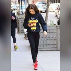 Busy days call for a simple yet stylish outfit, such as a black print oversized sweater and black leggings. Complement this look with red leather high top sneakers.  Rock on a cool pair of shoelaces by Shoe String King to elevate your overall look. Go to our website at www.ShoeStringKing.com and a grab a pair!  #SSKfemale #Zendaya #red #sneakers #shoes #leggings #model #woman #chic #street #style #shoes #shoeporn #shoegasm #instashoes #instastyle #instafashion #instapic #instagood #kicks