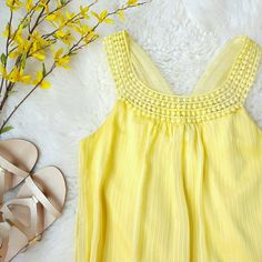{I.N. San Francisco} Yellow Chiffon Tank Top -Outer: 100% polyester  -Lining: 100% polyester -Back bottom part is elastic -Sheer outer material with inner lining -A few small pulled threads (one is pictured) Tops Tank Tops