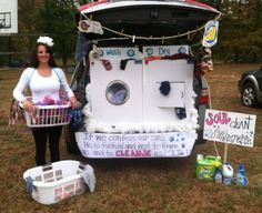 Trunk or treat-washer and dryer and laundry. Just add a bubble machine from the washer. :)