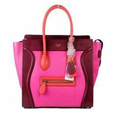 Celine Fuchsia Pink Burgundy & Watermelon Red #Colorblock Leather #Bag