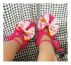 Rose Bows Haak Soft Sole baby Grils Crib Shoes