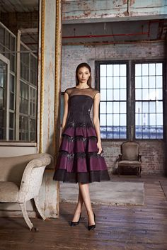 Pamella Roland - Pre-Fall 2015 - Look 12 of 21 - Note... pre-fall RTW lace signatures wherein the the hems are left raw or unsewn.