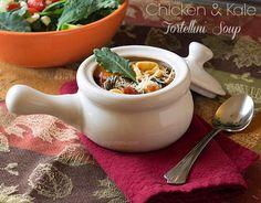 Comfort food in a bowl! Chicken & Kale Tortellini soup.