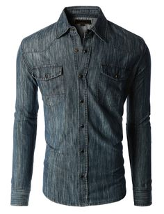 Sizes run small; please choose a size up. Stake your claim to cool western style in this classic long sleeve button down chambray denim western shirt. This shirt is constructed from rigid denim to all