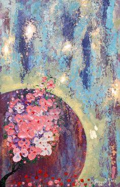 Abstrakcja.Kwiaty.Obraz olejny na płycie.Wymiary :35 x 54cm