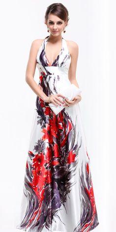 V-Neck Satin Floral Halter Evening Dress