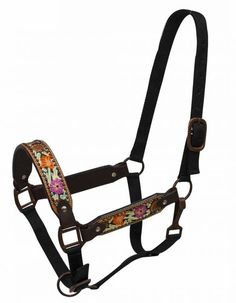 Showman FULL SIZE Painted floral tooled belt halter