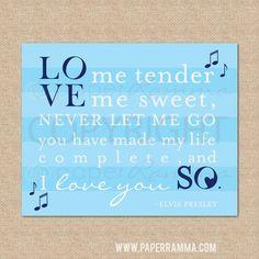 Love Me Tender, Elvis Presley // Rock and Roll Nursery / Kids Room Giclée Art Print // Music Art Print // Classic Rock Art // N-X57-1PS on Etsy, $18.00