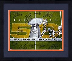 """Framed Denver Broncos Autographed 16"""" x 20"""" Super Bowl 50 Champions Photograph with Multiple Signatures - Limited Edition of 50 - Fanatics Authentic Certified ** Click image for more details."""