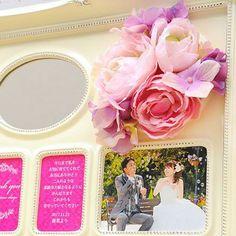 ミラーフォトフレーム花束 ウォールピンク/結婚式両親プレゼント