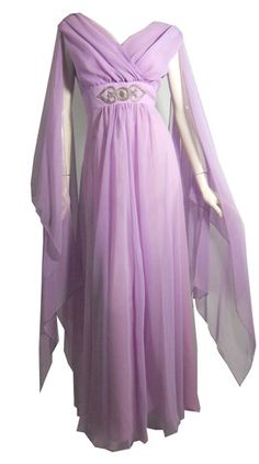 Ethereal Violet Chiffon Evening Gown circa 1970s