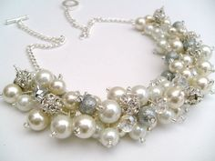 Set of 6 Ivory White and Silver Pearl Beaded by KIMMSMITH on Etsy