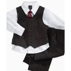 Nautica Kids Set, Little Boys 4 Piece Vest Set ($42) ❤ liked on Polyvore featuring baby, baby boy, boys, kids clothes and baby boy clothes