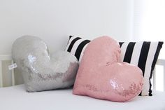 Heart shaped pillow Pink heart metalic sequins throw by Nuppi