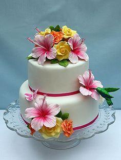 hawaiian flower cake - Google Search