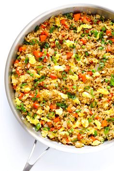 Seriously the BEST fried rice recipe!! It only takes 15 minutes to make, it's easy to customize with your favorite add-ins, and it's super delicious.