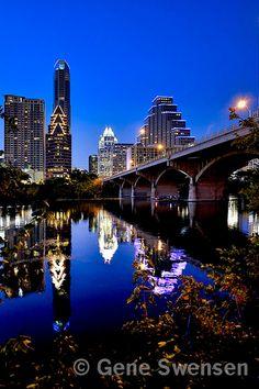 Austin Texas Skyline - Congress Avenue Bridge - 8 x 12 via Etsy