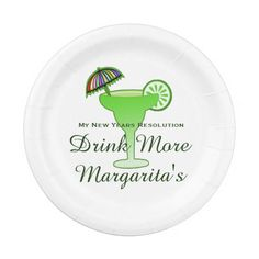Funny Margarita Cocktail Party New Year Resolution 7 Inch Paper Plate This funny new years resolution cocktail drink design party paper plate for the margarita lover on your gift list features a margarita glass with an olive and text - my new years resolution - Drink More Margarita's ! !!! #newyear #funny #margarita #party Have a little fun making and poking fun of all those who make resolutions they will break in 2 days!