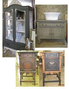 Cottage Paint transforms old furniture pieces - love the grey Diy Furniture Projects, Old Furniture, Painted Furniture, Diy Projects, Dressers, Paint Ideas, Armoire, Paint Colors, Repurposed