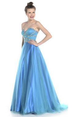 A classic full ball gown, with masses of sparkly tulle petticoats from Ruby Prom