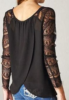 Black Lace top. www.astucesdefilles.com